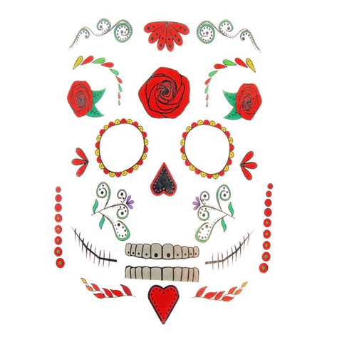 Womens Day Of The Dead Face Tattoo Sticker Set