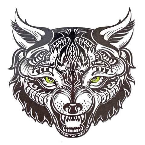 Tribal Wolf Large Temporary Tattoo