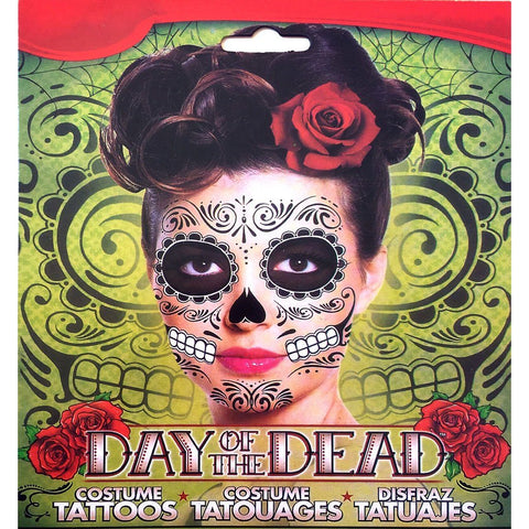 Day of the Dead Black Halloween Skull Face Temporary Tattoo