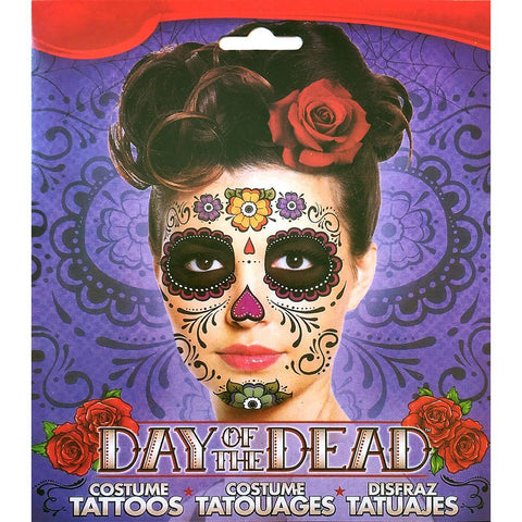 Day of the Dead Colourful Flower Skull Face Temporary Tattoo