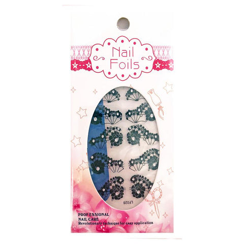 Temporary Tattoo - Black Flower Design Nail Stickers