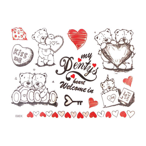 Love Bears Temporary Tattoo Themed Sheet