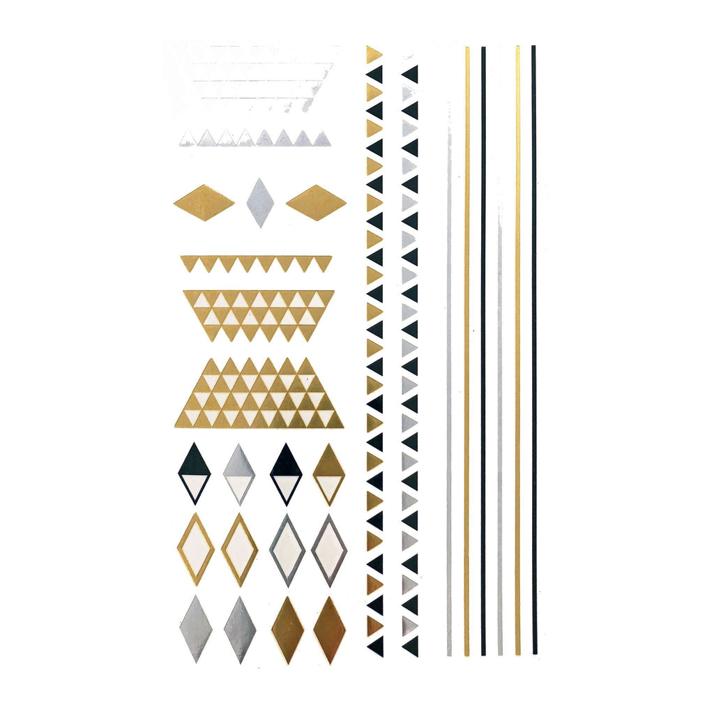 Temporary Tattoo - Silver And Gold Metallic Jewellery Tattoo - Design 117