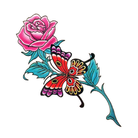 Pink Rose and Large Butterfly Mini Temporary Tattoo