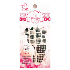 Temporary Tattoo - Black And White Houndstooth Design Toenail Foils