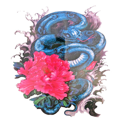 Snake With Flower Large Temporary Tattoo