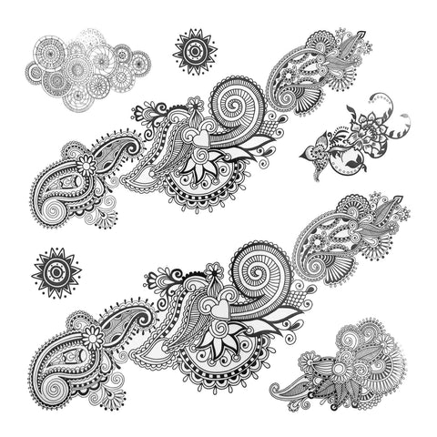 Paisley Pattern Large Temporary Tattoo