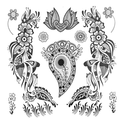 Paisley And Flower Pattern Large Temporary Tattoo