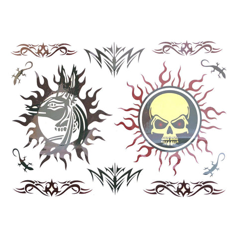 Tribal Sun Temporary Tattoo Themed Sheet
