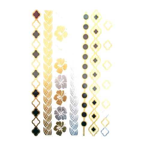 Temporary Tattoo - Silver And Gold Metallic Jewellery Tattoo - Design 121