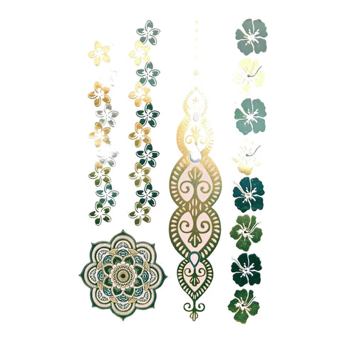 Temporary Tattoo - Silver And Gold Metallic Jewellery Tattoo - Design 123