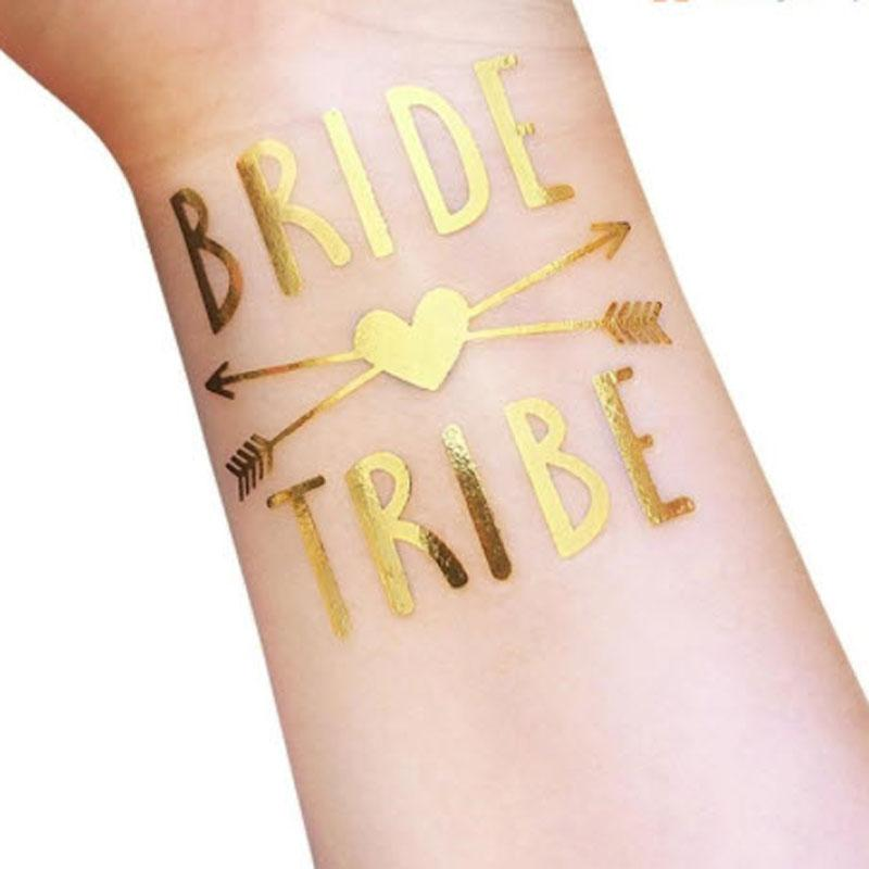 dfb5bdf4d Bride Tribe Temporary Tattoo - Metallic Gold with Arrow and Heart