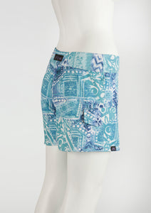 "Pacific Island Boardshort   Blue/White Batik 5"" Inseam"