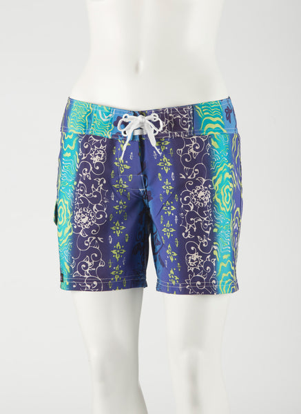 "Tahiti Boardshort     Aqua/Purple/Lime  5"" Inseam"