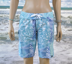 "Pacific Island Boardshort   Blue/Aqua/White Batik 10"" Inseam"