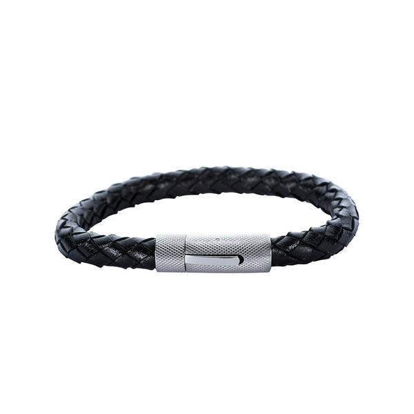 Rounded Woven Leather Bracelet with Textured Clasp