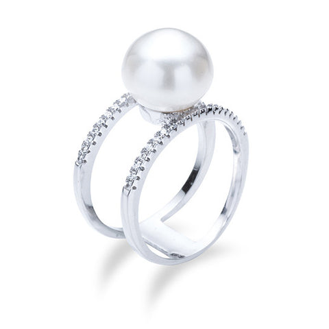 Double Band Pearl Ring