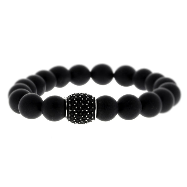 Beaded Matte Onyx Bracelet with Stainless Steel Charm