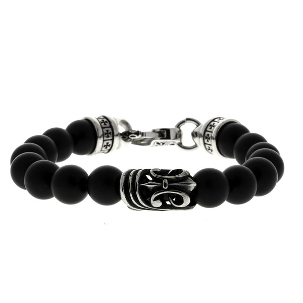Beaded Matte Onyx Bracelet with Intricate Clasp