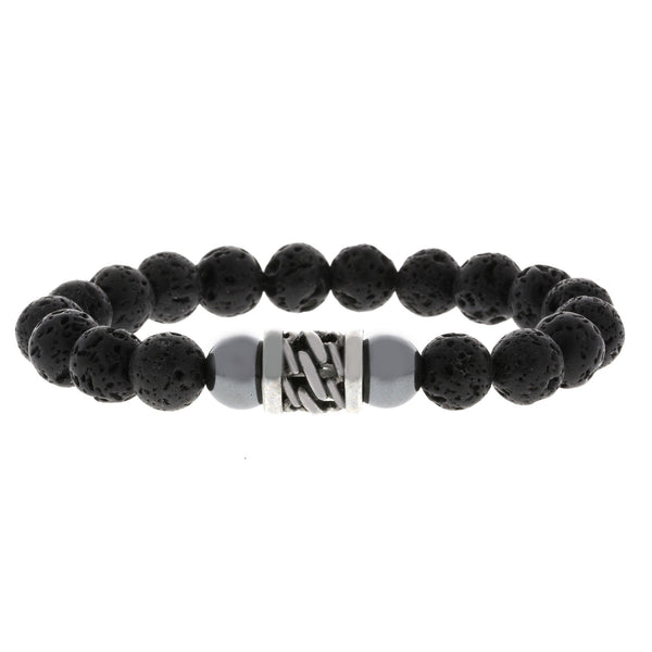 Beaded Lava Rock Bracelet with Woven Stainless Steel Charm