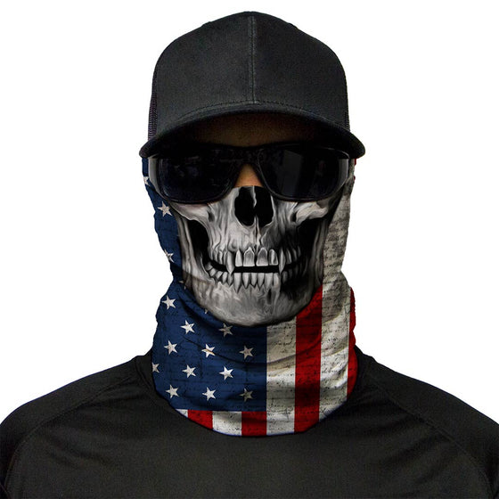 Motorcycle Face Mask - US Flag Skull