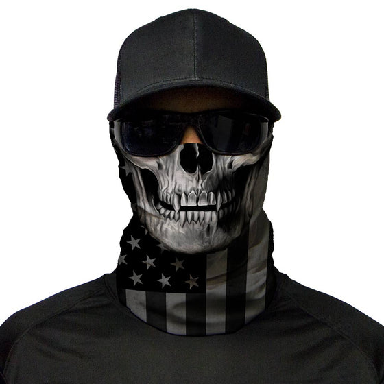 Motorcycle Face Mask - Blackout US Flag Skull