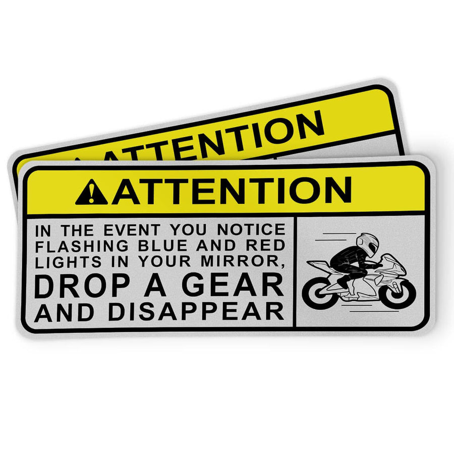 Funny motorcycle sticker in the event you notice flashing blue and red lights in your