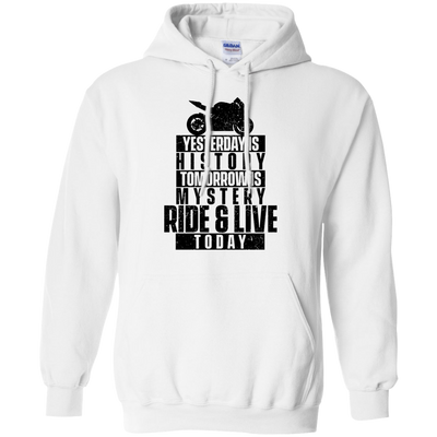 Ride & Live Today Hoodie White Small Medium Large X-Large XX-Large XXX-Large 4XL 5XL 6XL