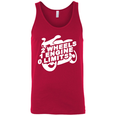 2 Wheels 1 Engine 0 Limits Tank Top Red X-Small S M L XL 2XL X-Small S M L XL 2XL