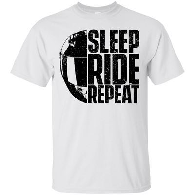 Sleep Ride Repeat T-Shirt White Small Medium Large X-Large XX-Large XXX-Large 4XL 5XL 6XL
