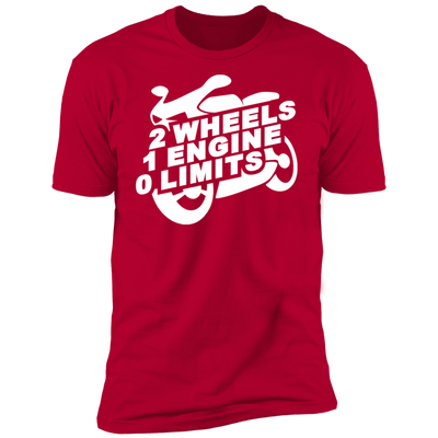 2 WHEELS 1 ENGINE 0 LIMITS T-SHIRT Red X-Small S M L XL 2XL 3XL 4XL