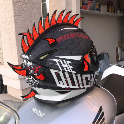 Helmet Mohawk Reflective Decals Red