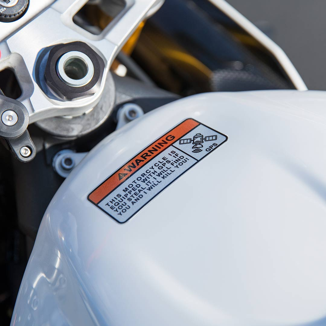 Motorcycle sticker gps warning 2 pack