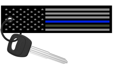 ParoDoXz - Thin Blue and Green Line US Flag Keychain