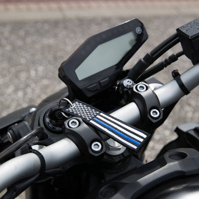 USA Flag Thin Blue Line - Motorcycle Keychain