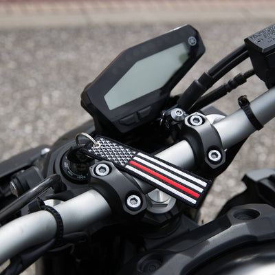 USA Flag Thin Red Line - Motorcycle Keychain