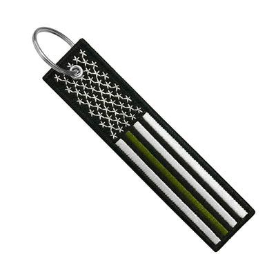 USA Flag Thin Green Line- Motorcycle Keychain