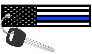 USA Flag Thin Blue Line - Motorcycle Keychain riderz