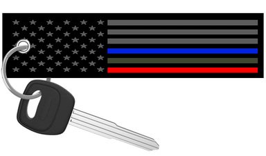 USA Flag Thin Blue, Red, Green Line- Motorcycle Keychain riderz