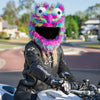 Motorcycle Helmet Cover - Rainbow Long Fur