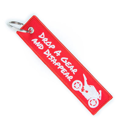 Drop a Gear and Disappear - Red Motorcycle Keychain