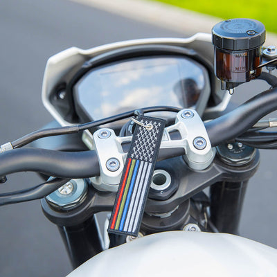 USA Flag Thin Blue, Red, Green Line- Motorcycle Keychain