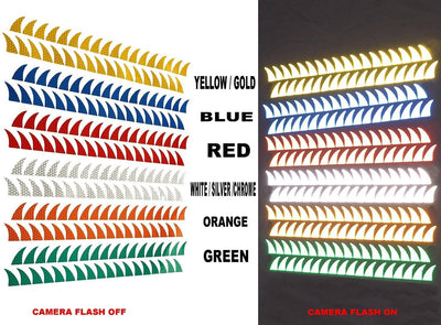 Helmet Mohawk Reflective Decals Red Blue Green Gold Orange White Yellow Pink