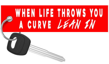 When life throws a curve lean in motorcycle keychain riderz