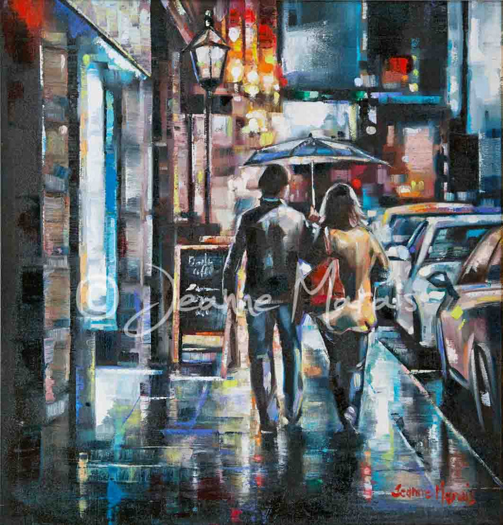 Rainy city street with romantic couple oil on canvas