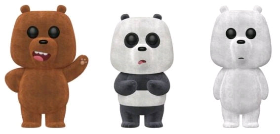 We Bare Bears - Grizz, Panda & Ice Bear Flocked Pop! Vinyl 3-pack