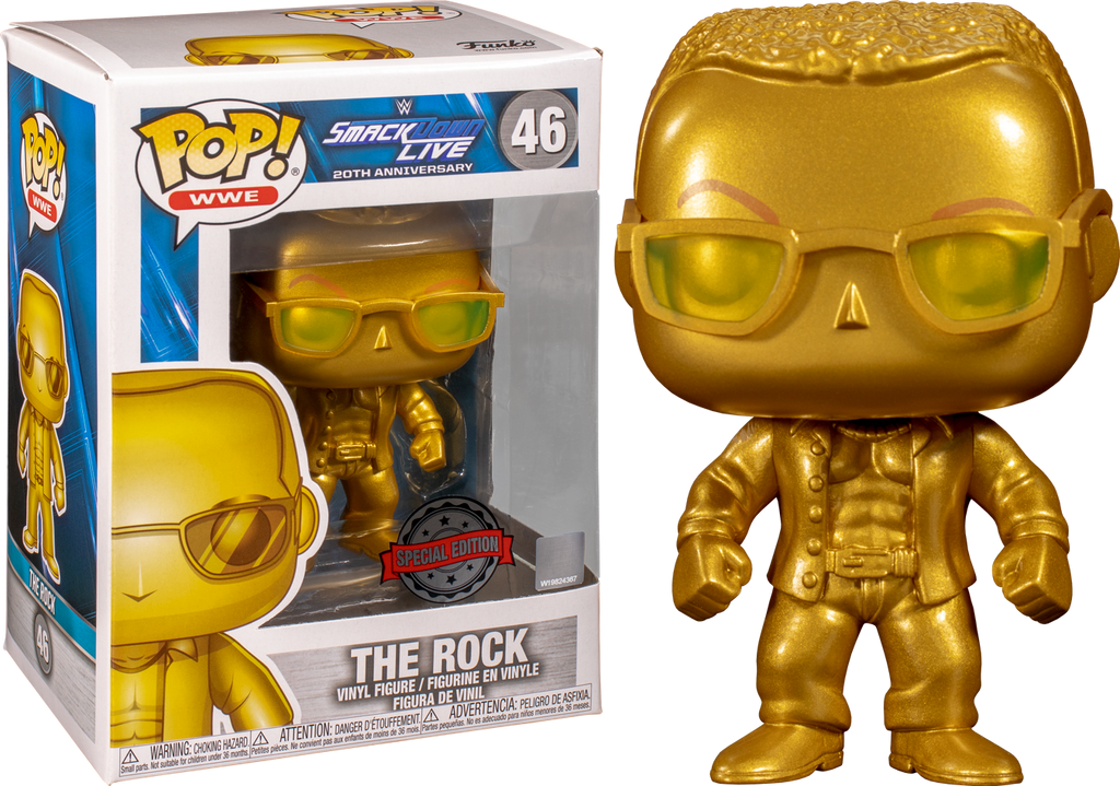 WWE Smackdown Live 20th Anniversary The Rock Gold Metallic Pop! Vinyl