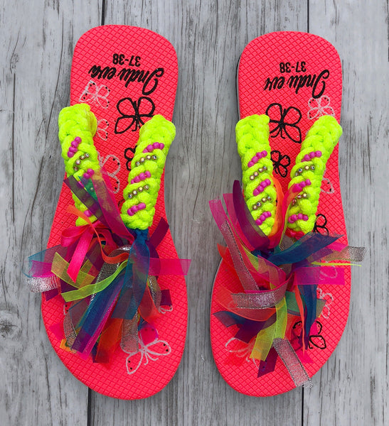 Hot Pink + Neon Ribbon Flip Flops