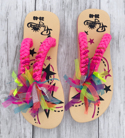 Tan Ribbon Flip Flops