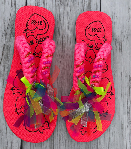 Hot Pink Ribbon Flip Flops